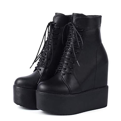 ACWTCHY Botines con cuña Zapatos con Suela de Goma Negra y Blanca Botas con Plataforma Zapatos de tacón con Plataforma con Cordones para Mujer