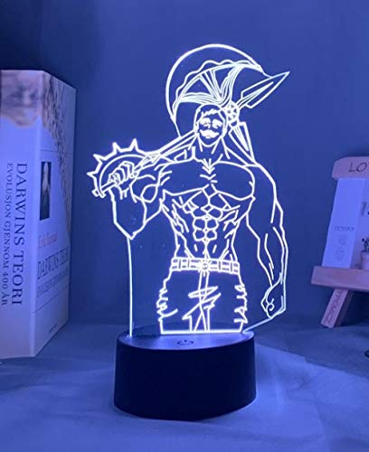 Luz nocturna 3D para niños, acrílico, lámpara de noche anime, los siete pecados mortales, Eskanor, luz para decoración de cama, luz nocturna infantil, lámpara de mesa para escanor, regalo HYKK
