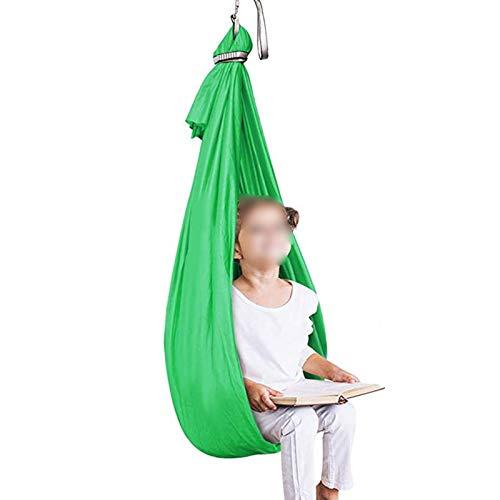 WCX Therapieschaukel für Kinder, Hängematte, Netzstoff, für Kinder mit besonderen Bedürfnissen, ADHS, ultraweich, verstellbar, für drinnen und draußen (Farbe: grün, Größe: 1 x 2,8 m)