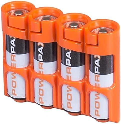 Storacell SLAAORG Slimline AA Battery Caddy, Orange, Holds 4 AA Batteries, (2 Pack)