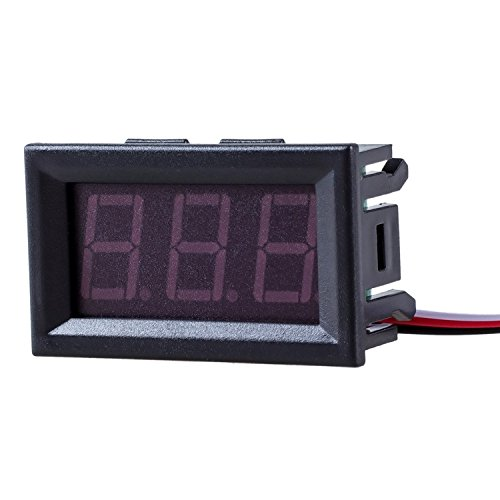 TOOGOO Mini Panelmeter Spannungsanzeige Voltmeter DC 0-30V 20 mA Rot drei Kabel