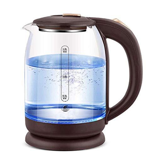 LXYZ Glas-Wasserkocher, Öko, LED-Anzeigelampe, Innendeckel und Boden aus Edelstahl, automatische Abschaltung und Trocknungsschutz, 1,8 l, 1500 W Heiz-Schnellkoch, Braun/Stromkabel 100 cm