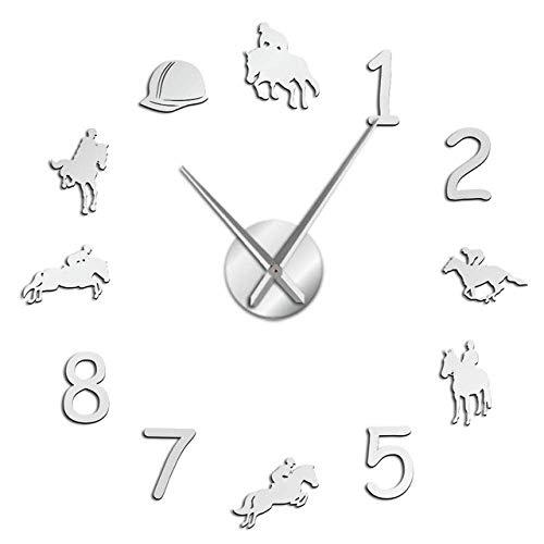 Wrist Watch Wall Clock Equestrians Large Wall Clock Farmhouse Home Decor Cowboys Modern Design Giant Wall Clock Rodeo Horse Riding DIY Wall Watch,Blac
