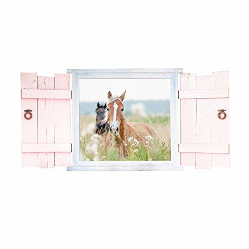 023 Wandtattoo Pferde im Fenster mit Fensterläden - in 6 Größen - wunderschöne Kinderzimmer Sticker und Aufkleber süße Wanddeko Wandbild Junge Mädchen Größe 1000 x 500 mm