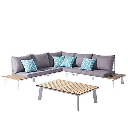 Muebletmoi - Salón de jardín con 1 sofá de esquina y 1 mesa baja de aluminio blanco y madera de teca – NILO