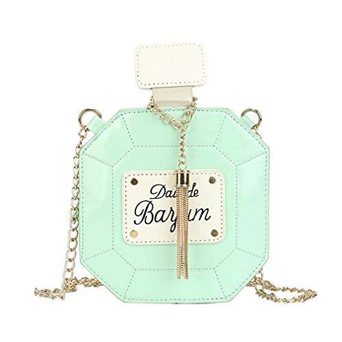 COUYY Kleines frisches Kunst Mädchen All-Match-Messenger Bag Niche Design Parfüm Flasche Quaste Kette Tasche Umhängetasche Neue,Grün