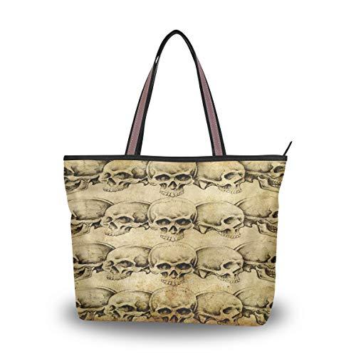 BIGJOKE Sugar Skull Bedruckte Handtasche für Frauen Tote Bag Top Griff Schultertasche Satchel Geldbörse, Mehrfarbig - mehrfarbig - Größe: Medium