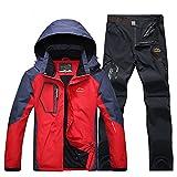 RatenKont Hombres Pesca Senderismo Chaquetas Camping Trekking Pantalones Viaje al Aire Libre Conjunto Pantalones Secado rápido Red Black 5XL