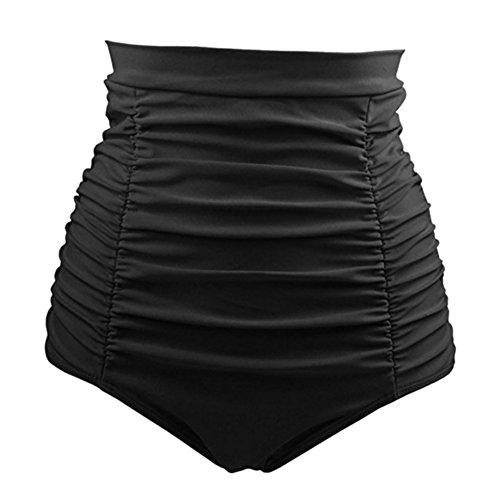 Cocohot Damen Badeshorts Retro High Waist Bikini Hose Hoch Tailliert Swiming Briefs Geraffte Schwimmen (Schwarz, X-Large)