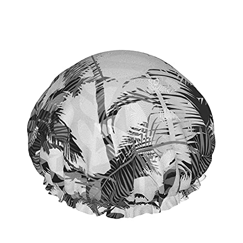 Double Layers Shower Cap,Trendy Blog Hand Drawn Gold And Black Ink Design Elements,Reusable Waterproof Elastic Bath Caps for All Hair Lengths-style03-1pcs