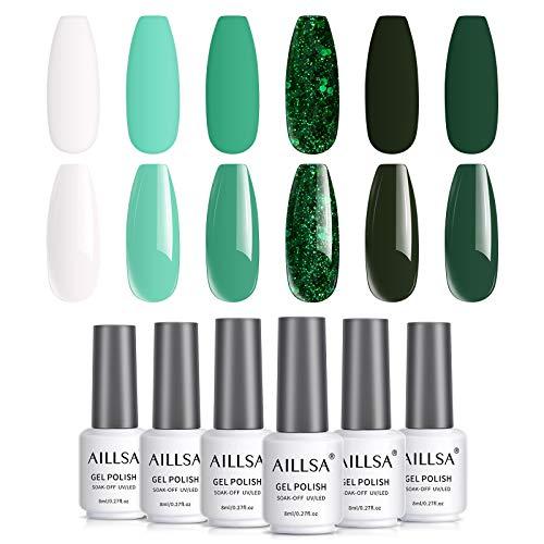 AILLSA Kit de Esmalte de Gel Serie Verde, Kit de Inicio de Esmalte de Gel UV Blanco.