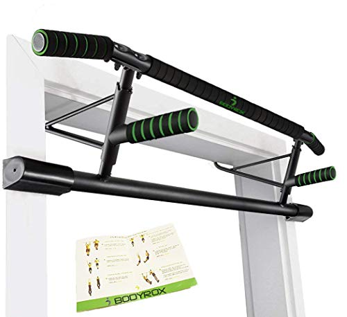BODYROX Premium Pull up/Chin up Bar | Doorway Home Gym Fitness | Elevated Design, Heavy Duty, Mountable (Elite Pull Up Bar)