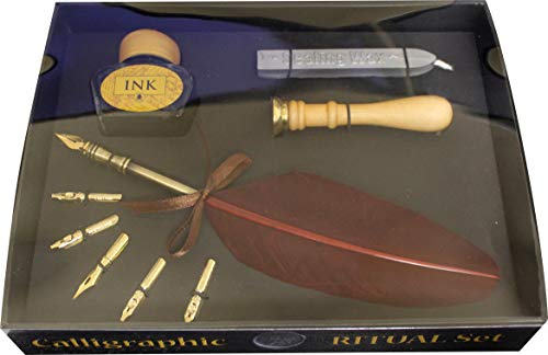 Calligraphy Ritual Set: Contains one stick of natural wax, one seal stamp, real feather quill with five interchangeable nibs and one bottle of calligraphy ink