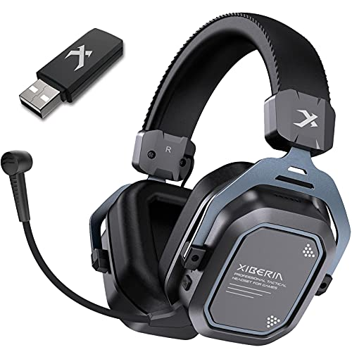 XIBERIA S11 Wireless Gaming Headset Surround Sound for PC,PS5,PS4,Noise Cancelling Microphone,5.8GHz Anti-Interference,Over Ear PC Gaming Headphones,Ultra-Low Latency,Lightweight