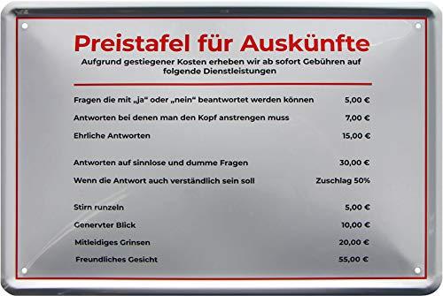 Preistafel für Auskünfte 20 x 30 cm Witziges Deko Blechschild 790