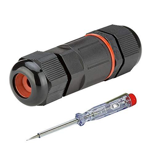 Outdoor Kabelverbinder | 7,5 cm | IP68 | 3-polig | Abzweigdose Verbindungsbox Verbindungsmuffe | Wasserdicht | für 4-9 mm Kabeldurchmesser