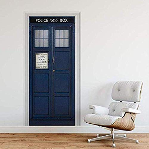 Wsmsp Selbstklebende 3D Tür Wandbilder Schälen Und Stick Decor Aufkleber Police Box Blau Uk Tardis Riesen Fantasie Kunst Leinwand Tapete Abnehmbare Kunst Poster 30,3X78,7 (77X200 Cm)