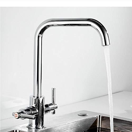 Djkaa Keukenwastafel Kraan Mixer Zeven Letter Ontwerp 360 graden Rotatie Waterzuivering Tap Dual Handle Serie