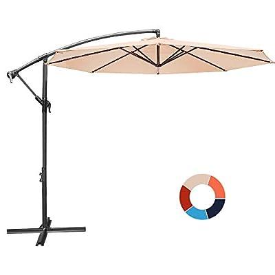 JIESSIWONG Offset Umbrella - 10Ft Cantilever Patio Hanging Umbrella?Outdoor Market Umbrellas with Crank Lift & Cross Base(10 FT,Beige)