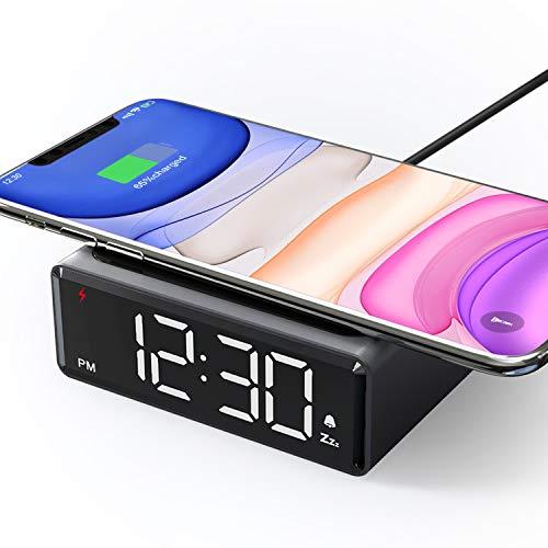 LIORQUE Sveglia Digitale da Comodino con Caricatore Wireless da 5W...