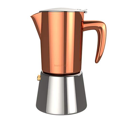 bonVIVO Intenca Cafetera Italiana Express De Acero Inoxidable con Acabado Cobre, para Espresso con Mucho Cuerpo, Cafetera Moka Clásica, para 2 Tazas De Espresso (100ml)