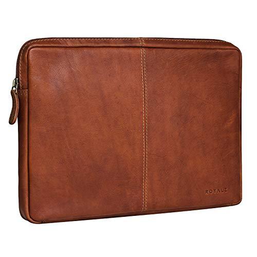 ROYALZ Leder Sleeve für Huawei MateBook X Ledertasche (13,3 Zoll) Lederhülle Tasche Schutztasche Schutzhülle Cover Mappe Folio Retro Vintage Design, Farbe:Cognac Braun