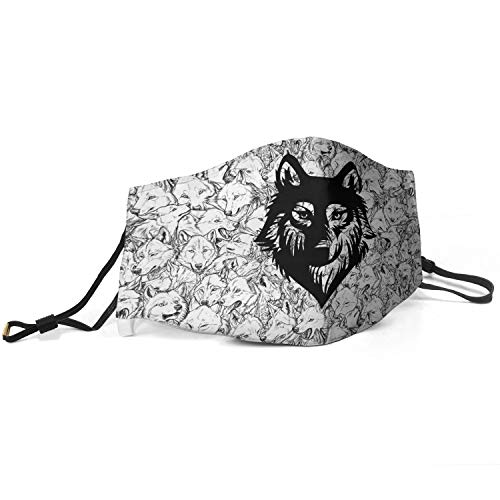Men's Unique Mouth Ma_sk Wolf-Cartoon-Animal-Sketch- Anti Pollution Washable and Reusable Face Ma_sk