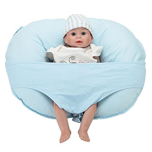 Leke Baby Breastfeeding Pillow and Positioner with Removable Nursing Pillow Slipcover, Sky Blue
