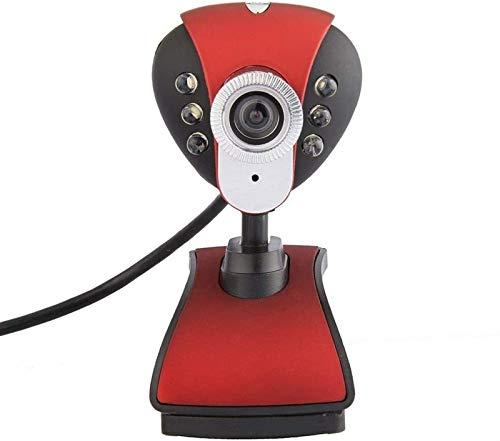 Webcam USB Web Camera 720P HD Computer Camera Webcam Built-in Microfono fonoassorbente 360 gradi di rotazione (colore : rosso)