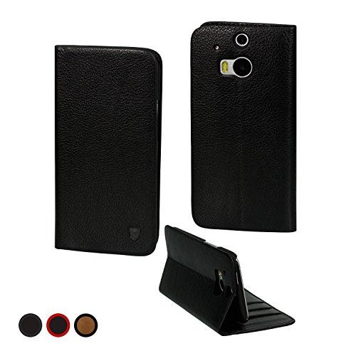 MediaDevil Lederhülle für HTC One M8 (2014) (Schwarz) - Hülle im Notebook-/Brieftaschenstil mit integriertem Stand & Visitenkartenfächern