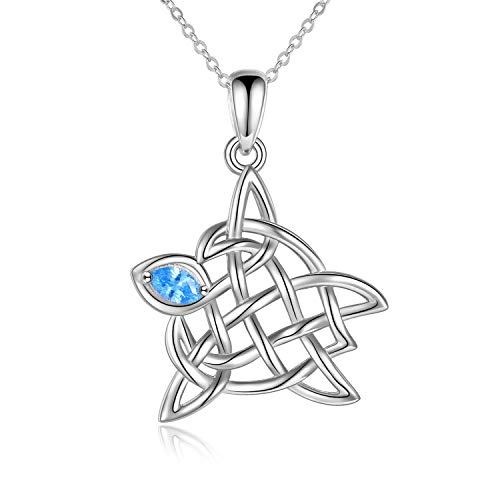 POPKIMI Turtle Celtic Knot Pendant Necklace Mothers Day Jewelry Gifts for Mom Ladies Women