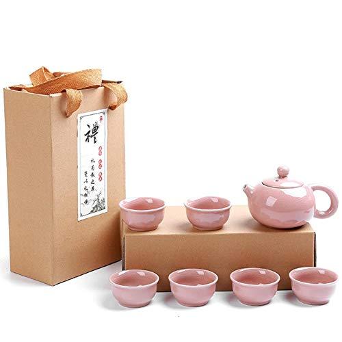LinZX Nombre de la Carrera de Porcelana Tea Pot Canción Horno Vestido práctica Famosa Seis Copa Enviar Regalo Colección Can Jing,sixcupspinkpot