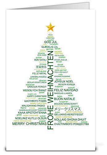 Weihnachtskarten Wordcloud-Baum mit Umschlag, Set: 50 Stück hochwertige Klappkarten (Hochformat 12x19 cm groß) & Umschläge, für internationale Grüße an Firmen-Kunden, Geschäfts-Partner, Team-Kollegen