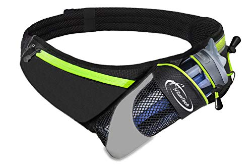 AiRunTech Upgraded No Bounce Hydration Belt Can be Cut to Size Design Strap for Any Hips for Men Women Running Belt with Water Bottle Holder with Large Pocket Fits Most Smartphones(Green)