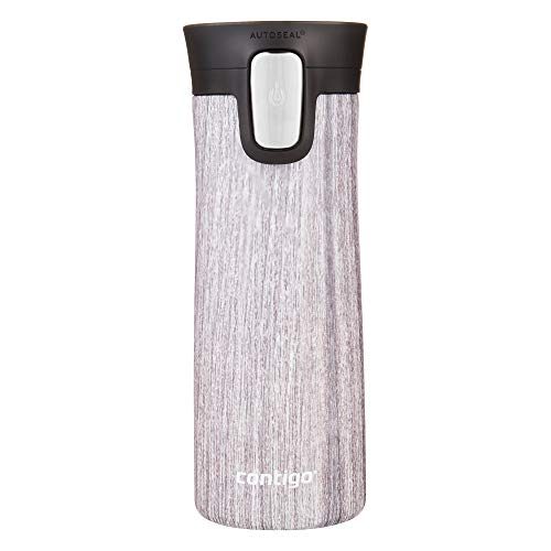 Contigo Pinnacle Autoseal Thermobecher, Edelstahl-Reisebecher, Isolierflasche, auslaufsicher, Kaffeebecher to Go, Isolierbecher mit Easy-Clean-Deckel BPA-frei; Blonde Wood, 420 ml