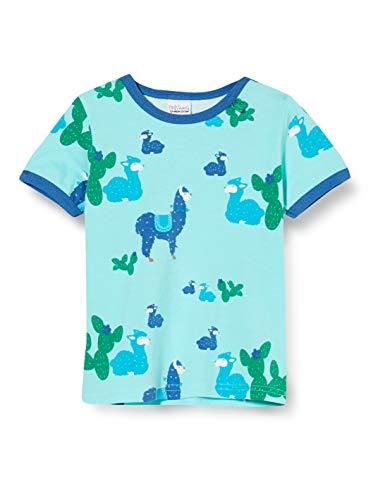 Fred'S World By Green Cotton Lama S/s T Baby T-Shirt, Multicolore (Aqua 014481201), 92 Bébé garçon