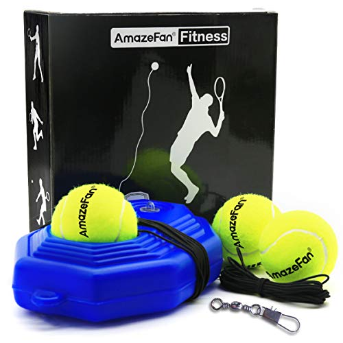 Amazefan Tennis Trainer Practice Equipment, with 3 Resilient String Rebound Balls Great for Singles Tennis Training, Portable Tennis Training Tool Exercise for Kids Adults Beginners (Blue)