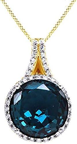 AFFY Halskette mit Anh er, 18 Karat Gold verGoldetes Sterlingsilber, Blauer Topas und Weißr Zirkonia