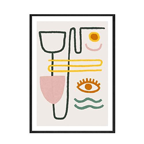GSGJWJ Póster Nórdico Moderno Línea Abstracta Estilo Simple Buenos Ojos Lienzo Pintura Arte Impresión Cartel Imagen Pared Sala De Estar Decoración del Hogar-30x40cm No Frame