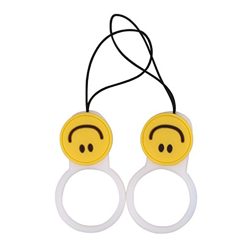 Yellow Emoji Smile Face Cell Phone Charm Split Ring Strap Phone Holder for iPhone and Android Smartphones (Smile Ring White 2Pcs)