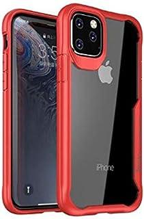 جراب خلفي شفاف بإطار سيليكون ضد الصدمات لهاتف ايفون 11 برو ماكس (6.5) - احمر وشفاف