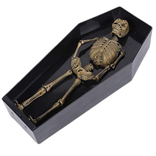 STOBOK Tanzen Skelett Spielzeug Halloween Beängstigend Sarg Skelett Elektrische Halloween Streich Spielzeug Halloween Partyzubehör (Schwarz)
