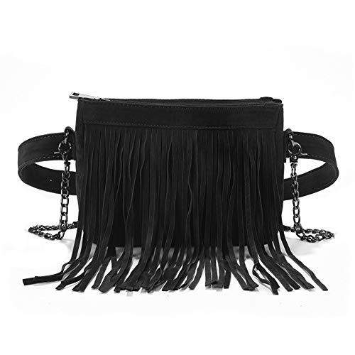 Fashion Fringe Tassel Fanny Pack Velvet Belt Crossbody Shoulder Bag Travel Purse for Women Black