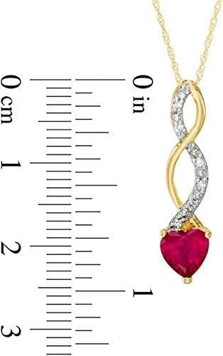 The Diamond Deal Lab Created 6.00MM Gemstone Birthstone Heart and Diamond Accent Swirl Necklace Pendant Charm 10k REAL White OR Yellow Or Rose/Pink Gold 18 inch 10k Gold Chain (Choose your Birthstone)