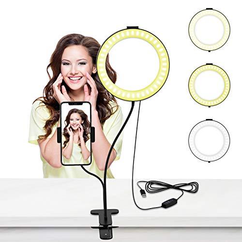 LED Selfie Ringlicht, 6 Zoll Live Licht Ringleuchte mit Handyhalter 3 Leuchtmodi und 10 Helligkeitsstufen für Live Streaming, Videosschooting, Selfie Portrait, Schminken, Kochvideos-Aufnahme