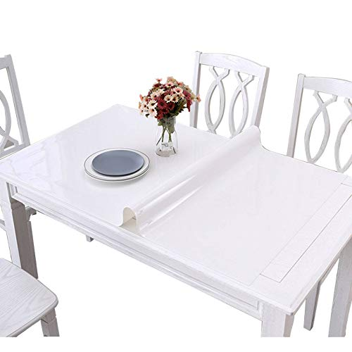 White PVC Tablecloth, Waterproof Stain Resistant Plastic Table Cloth Rectangle Tablecloth for Restaurant Study-Thick:3.0mm-85x140cm(33x55inch)