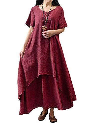 Romacci Damen Beiläufige Lose Kleid Fest Langarm Boho Lang Maxi Kleid S-5XL Schwarz/Weiß/Rot/Gelb (Weinrot-Kurzarm, 5XL)