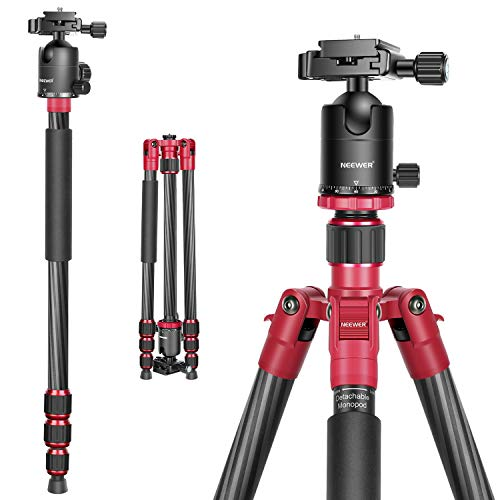 Neewer 66 inches/168 centimeters Carbon Fiber Camera Tripod Monopod with 360 Degree Ball Head, 1/4 inch Quick Shoe Plate and Bag for DSLR Camera Video Camcorder Travel and Work,Load up to 33lbs/15kg