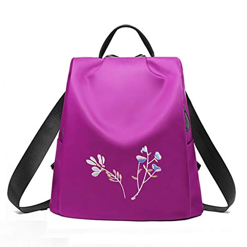 C&S CS Oxford-Tuch-Schulter-Beutel-Dame Student Bag Fashion Einfache Blumen Gesticktes Reise-Rucksack-Leichtgewichtler (Color : Purple)