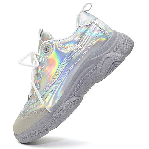 Vain Secrets Damen Sneaker Laufschuhe Sportschuhe Freizeit Schuhe Hologramm in 3 Farben (Silber, Numeric_37)